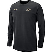 Nike Men's Purdue Boilermakers Modern Football Sideline Crew Black Long Sleeve Shirt