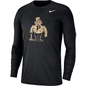 Nike Men's Purdue Boilermakers Heathered Vault Tri-Blend Black Long Sleeve Tee