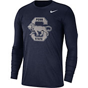 Nike Men's Penn State Nittany Lions Heathered Blue Vault Tri-Blend Long Sleeve Tee