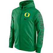 Nike Men's Oregon Ducks Green Therma-FIT Full-Zip Sideline Hoodie
