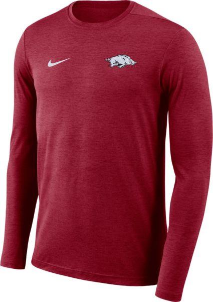 e435389297956 Nike Men s Arkansas Razorbacks Cardinal Football Dri-FIT Coach Long Sleeve  T-Shirt