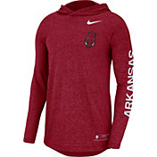 Nike Men's Arkansas Razorbacks Cardinal Marled Long Sleeve Hooded Sideline T-Shirt