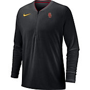 Nike Men's USC Trojans Coach Half-Zip Football Sideline Black Jacket