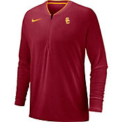 Nike Men's USC Trojans Cardinal Coach Half-Zip Football Sideline Jacket