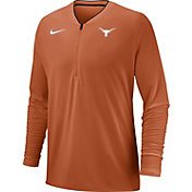 Nike Men's Texas Longhorns Burnt Orange Coach Half-Zip Football Sideline Jacket