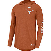 Nike Men's Texas Longhorns Burnt Orange Marled Long Sleeve Hooded Sideline T-Shirt