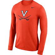 Nike Men's Virginia Cavaliers Orange Dri-FIT Logo Long Sleeve Shirt