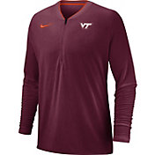 Nike Men's Virginia Tech Hokies Maroon Coach Half-Zip Football Sideline Jacket