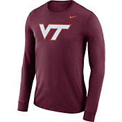 Nike Men's Virginia Tech Hokies Maroon Dri-FIT Logo Long Sleeve Shirt