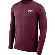 Nike Men's Virginia Tech Hokies Maroon Football Dri-FIT Coach Long Sleeve T-Shirt