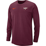 Nike Men's Virginia Tech Hokies Maroon Modern Football Sideline Crew Long Sleeve Shirt
