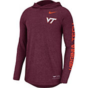 Nike Men's Virginia Tech Hokies Maroon Marled Long Sleeve Hooded Sideline T-Shirt