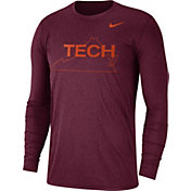 Nike Men's Virginia Tech Hokies Heathered Maroon Vault Tri-Blend Long Sleeve Tee