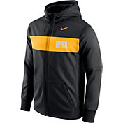 Nike Men's Iowa Hawkeyes Black Therma-FIT Full-Zip Sideline Hoodie