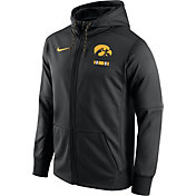 Nike Men's Iowa Hawkeyes Black Therma-FIT Full-Zip Football Hoodie