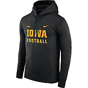 Nike Men's Iowa Hawkeyes Football Sideline Black Therma-FIT Hoodie