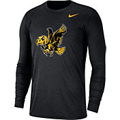 Nike Men's Iowa Hawkeyes Heathered Vault Tri-Blend Black Long Sleeve Tee