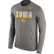 Nike Men's Iowa Hawkeyes Grey Dri-FIT Franchise Long Sleeve T-Shirt