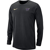 Nike Men's Washington Huskies Modern Football Sideline Crew Black Long Sleeve Shirt
