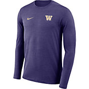 Nike Men's Washington Huskies Purple Football Dri-FIT Coach Long Sleeve T-Shirt