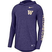 Nike Men's Washington Huskies Purple Marled Long Sleeve Hooded Sideline T-Shirt