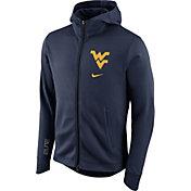 Nike Men's West Virginia Mountaineers Blue Therma-FIT Full-Zip Elite Basketball Hoodie