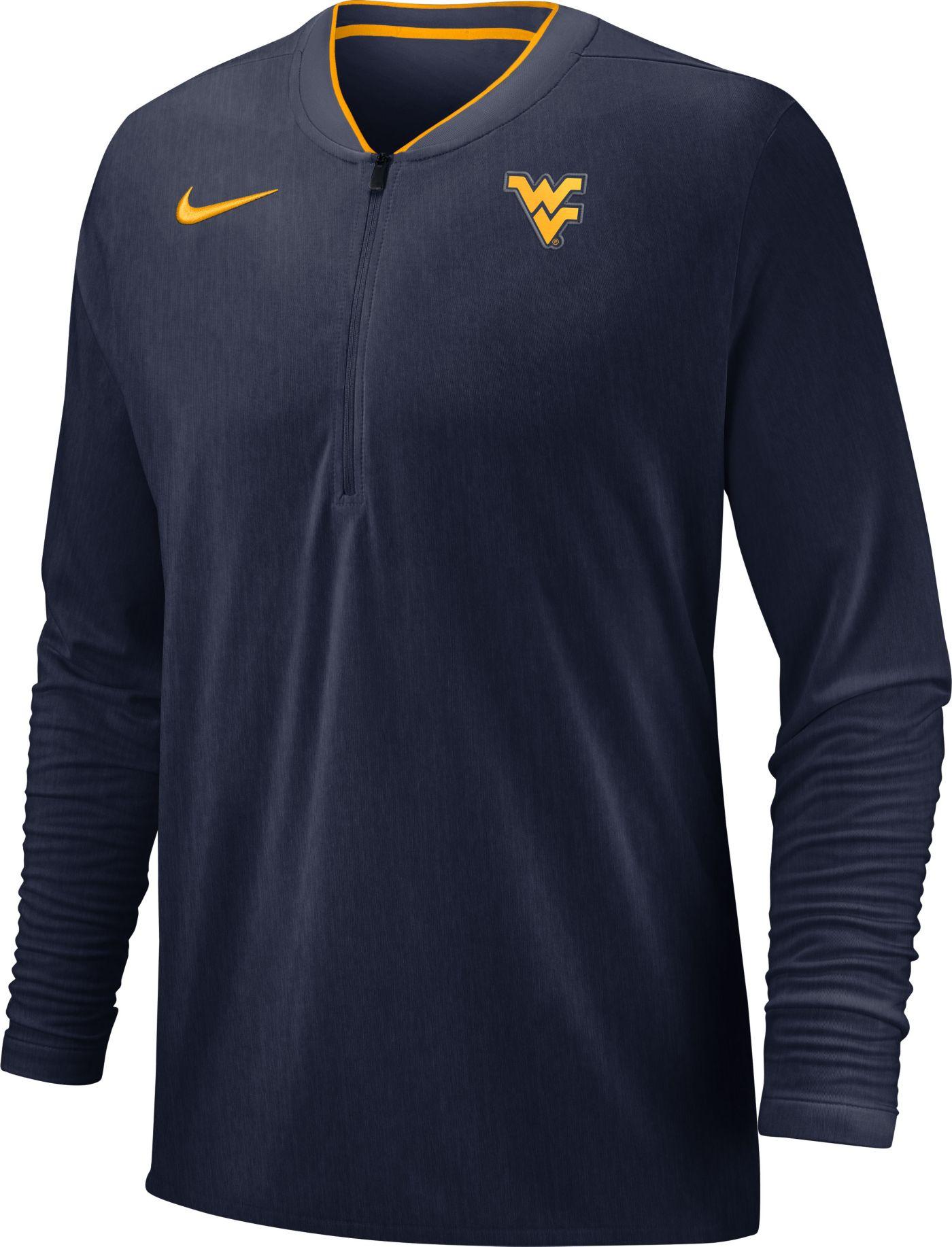 Nike Men's West Virginia Mountaineers Blue Coach Half-Zip Football Sideline Jacket