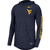 Nike Men's West Virginia Mountaineers Blue Marled Long Sleeve Hooded Sideline T-Shirt