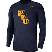 Nike Men's West Virginia Mountaineers Heathered Blue Vault Tri-Blend Long Sleeve Tee
