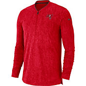 Nike Men's Tampa Bay Buccaneers Sideline Coaches Half-Zip Red Pullover