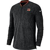 Nike Men's Cincinnati Bengals Sideline Coaches Half-Zip Black Pullover