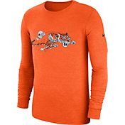 Nike Men's Cincinnati Bengals Tri-Blend Historic Crackle Orange Long Sleeve Shirt