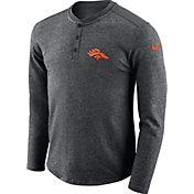 Nike Men's Denver Broncos Henley Charcoal Long Sleeve Shirt
