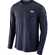 Nike Men's Denver Broncos Sideline Coaches Performance Navy Long Sleeve Shirt