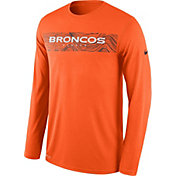 Nike Men's Denver Broncos Sideline Seismic Legend Performance Orange Long Sleeve Shirt