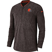 Nike Men's Cleveland Browns Sideline Coaches Half-Zip Brown Pullover