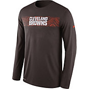 Nike Men's Cleveland Browns Sideline Seismic Legend Performance Brown Long Sleeve Shirt
