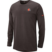 Nike Men's Cleveland Browns Sideline Modern Brown Long Sleeve Top