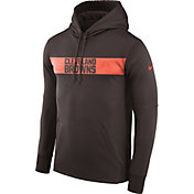 Nike Men's Cleveland Browns Sideline Therma-FIT Brown Pullover Hoodie