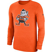 Nike Men's Cleveland Browns Tri-Blend Historic Crackle Orange Long Sleeve Shirt