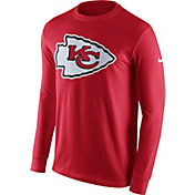 Nike Men's Kansas City Chiefs Logo Red Long Sleeve Shirt