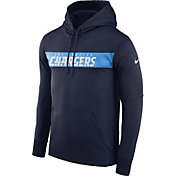 Nike Men's Los Angeles Chargers Sideline Therma-FIT Navy Pullover Hoodie