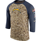 Nike Men's Los Angeles Chargers Salute to Service 2017 Camouflage Raglan