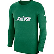 Nike Men's New York Jets Tri-Blend Historic Crackle Green Long Sleeve Shirt