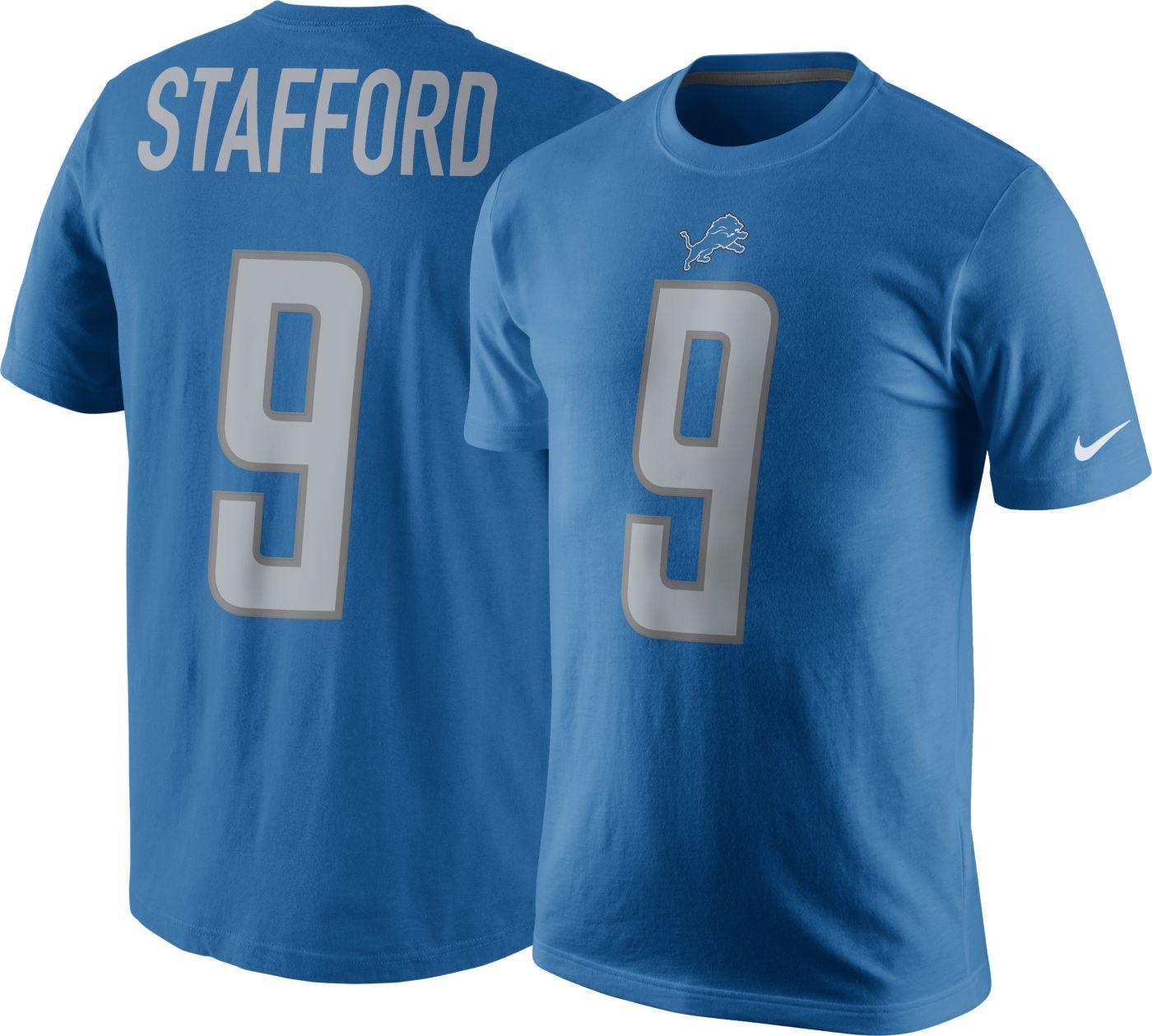 Nike Men's Detroit Lions Matthew Stafford #9 Pride Blue T-Shirt