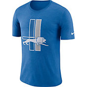 Nike Men's Detroit Lions Historic Crackle Tri-Blend Blue T-Shirt