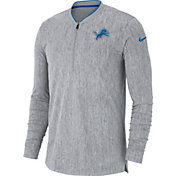 Nike Men's Detroit Lions Sideline Coaches Half-Zip Grey Pullover