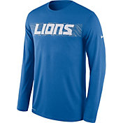 Nike Men's Detroit Lions Sideline Seismic Legend Performance Blue Long Sleeve Shirt