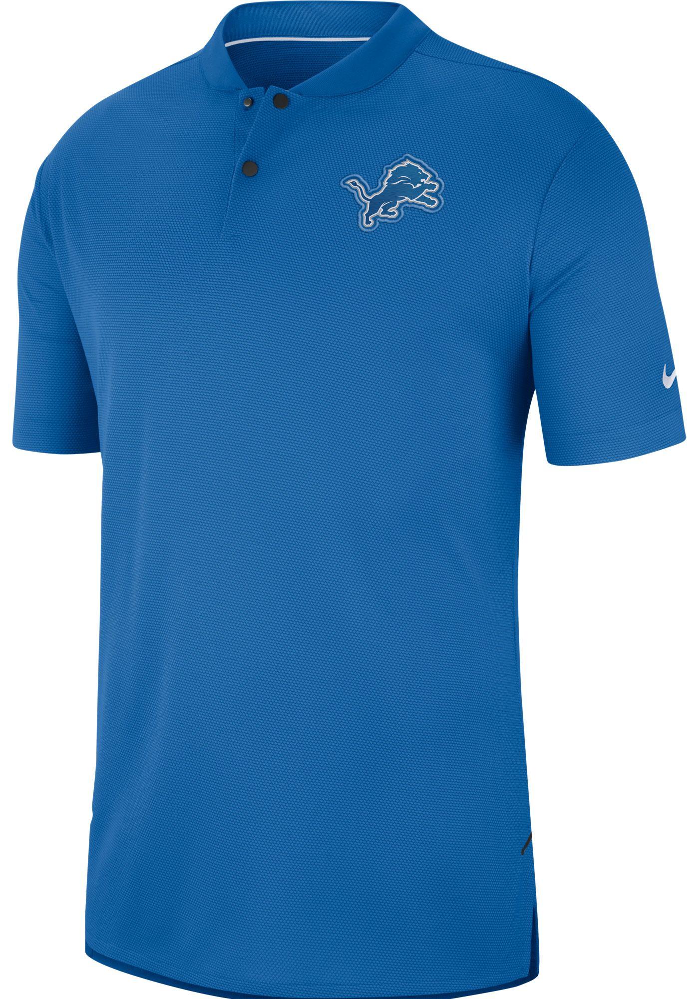 Nike Men's Detroit Lions Sideline Elite Performance Blue Polo