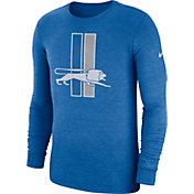 Nike Men's Detroit Lions Tri-Blend Historic Crackle Blue Long Sleeve Shirt